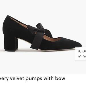 J Crew Avery Velvet Pumps with Bow size 8 black